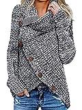 kenoce Maglione Donna Collo Alto Maglione Donna Casual Pullover Manica Lunga Casual Moda Tops Asimmetrico Maglione Maglione Autunnale e Invernale H-Grigio Scuro M