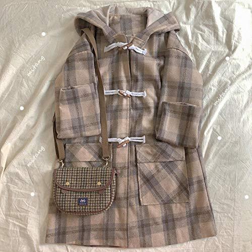 Jskdzfy Chaquetas para mujer Abrigo largo a cuadros cómodo y cálido con capucha WINDBREAKER Chaqueta de manga larga para mujer (color: algodón, tamaño: grande)