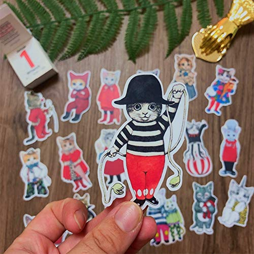 ZZHH Vintage Cat Diy Scrapbooking Phone Week Journal Album Diary Decorative Stickers18Pcs / Bag
