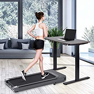 Willy Under Desk Electric Treadmill, with Touchable LED Display and Wireless Remote Control, Built-in 3 Workout Modes and 12 Programs, Walking Jogging Machine for Home/Office…