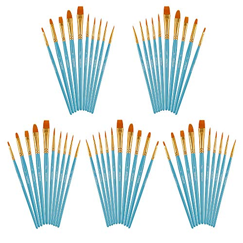 Artecho Paint Brushes Set, 5 Packs/50 pcs Art Brushes in Bulk for All Levels and Purpose Watercolor Oil Acrylic Gouache Painting, Nail Brush, Premium Nylon Hairs