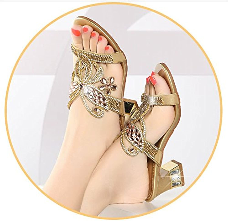 AWXJX Frauen Flip Flops Diamanten Äußeren Verschleiß Mitte