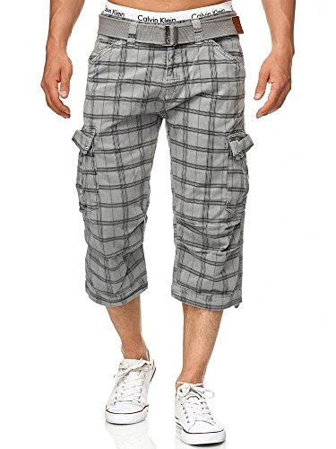 Indicode Caballero Nicolas Check Pantalones Cortos 3/4 Cargo a Cuadros con 6 Bolsillos y cinturón de 100% algodón | Más Corto Pantalón Verano Pantalones Men Pants para Hombres Lt Grey Check M