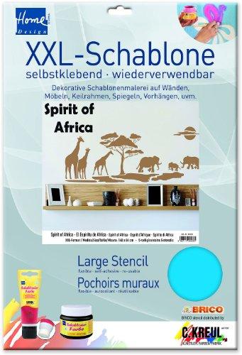 Kreul B6038 - Feste Designschablone Spirit of Africa XXL, ca. 140 x 84 cm, für Wände, Möbel, Keilrahmen, Textilien, Fenster und Türen, selbstklebend und wiederverwendbar, 5 teilig