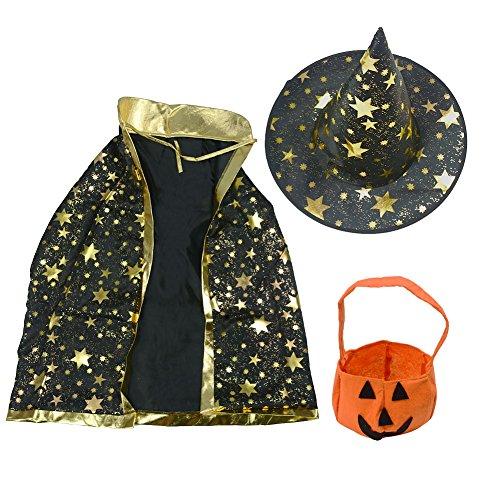 Halloween-Kostüm mit Zaubererumhang mit Sternen, Hut in Kürbisform, Süßigkeitenbeutel in Kürbisform, für Jungen und Mädchen
