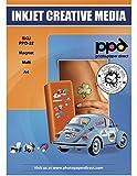 PPD Inkjet - A4 x 5 Hojas de Papel Fotográfico Magnético Mate - Imán Imprimible Personalizable - Recortable con Tijeras Domésticas - Para Impresora de Inyección de Tinta - PPD-32-5