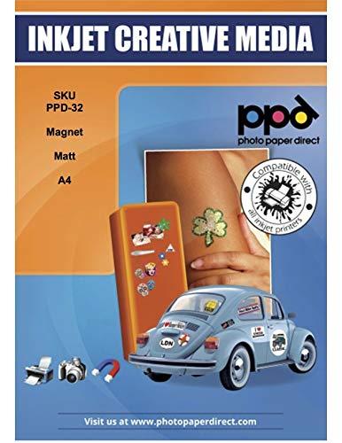 PPD A4 x 5 Blatt PREMIUM Inkjet Magnet Fotopapier (Magnetpapier) Matt - individuell bedruckbar und zuschneidbar für Kühlschrankmagneten und Bastelarbeiten uvm DIN A4 x 5 Blatt PPD032-5
