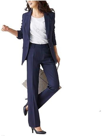 f57caed443460 [nissen(ニッセン)] オフィススーツ パンツスーツ 上下 セット 洗える ストレッチ ロング丈