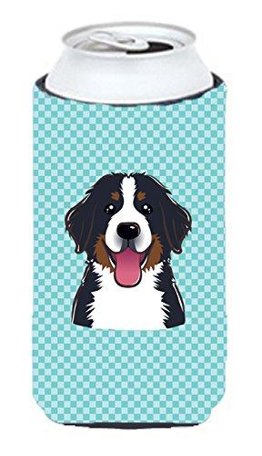 Checkerboard Bleu bouvier bernois Tall Boy Koozie Hugger Bb1175tbc