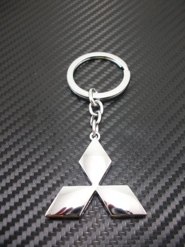 Mitsubishi Chrome Metal Keychain/key Ring