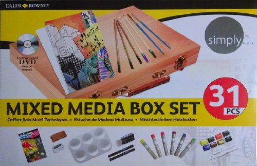 Mixed Media Starterset, 34 teilig, im Holzkoffer