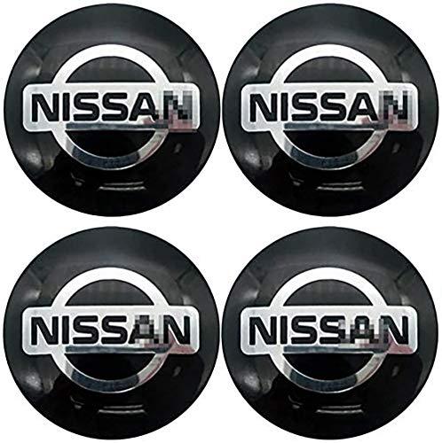Coche 4 Piezas 56mm,Tapas centrales Aleación Tapacubos con Emblema De Insignia Embellecedor Central De Llanta De Rueda Cubre Accesorios, para Nissan