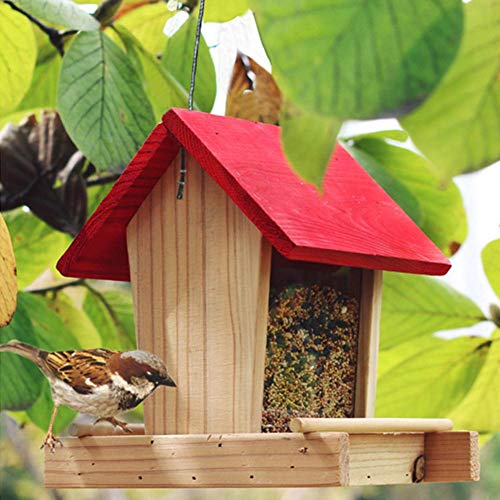 Letway Wooden Bird Feeder,Hanging Villa Rainproof Balcony Bird Food Box For Outdoor Patio Garden Yard astonishing