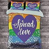Toopeek Pride Paquete de 3 (1 funda de edredón y 2 fundas de almohada) Spread Love Valentines Hand Writing Heart Gay LGBT Parade Slogan Grungy Vibrante Poliéster (Queen) Multicolor