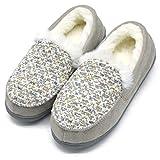 ONCAI Memory Foam Zapatillas De Casa para Mujer Felpa Pantuflas Mocasines Calentar Invierno Tweed Zapatos para Interior Exterior Caucho Suela,Gris 39