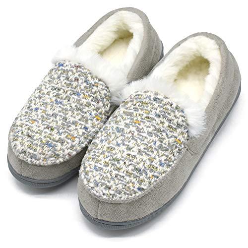 ONCAI Damen Memory Foam Plüsch Hausschuhe Mokassin Warme Winter Tweed Haus Pantoffeln für Drinnen Draußen Gummi Sohle,Grau 41 EU