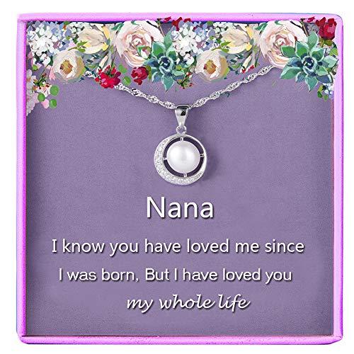 Nana Gifts Grandmother Necklace 925 Sterling Silver Single Pearl Pendant Moon Crystal CZ Cubic Zirconia Crystal Jewelry Grandma Nanna Birthday Women Gift