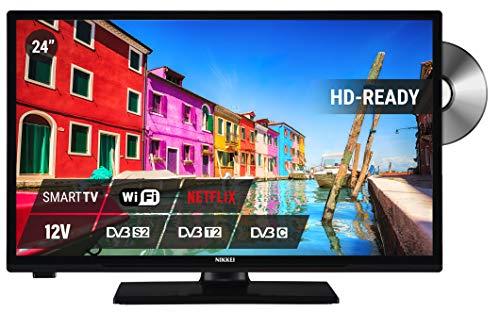 24 inch Smart TV met dvd-speler, combinatie met dvd-speler, satelliet DVB-T2, zwart