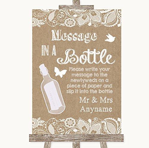 jute & kant trouwbord collectie jute & kant boodschap in een fles bruiloft teken Framed Oak Small Kleur: wit