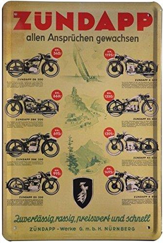 Blechschild 20x30 cm Zündapp Programm Kult Motorrad Werbung Plakat Metall Schild
