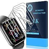 Lot de 6 films protecteurs d'écran LK pour Apple Watch (38 mm Series 3/2/1 40 mm Series 5/4 compatibles), [couverture maximale] [anti-bulles] HD Clear (LK0541)