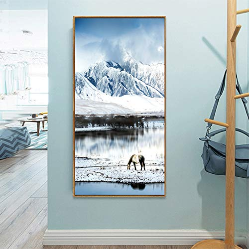 Geiqianjiumai sneeuwvuil decoratieve kunst posters en prints canvas muur woonkamer muurkunst decoratie zonder lijst