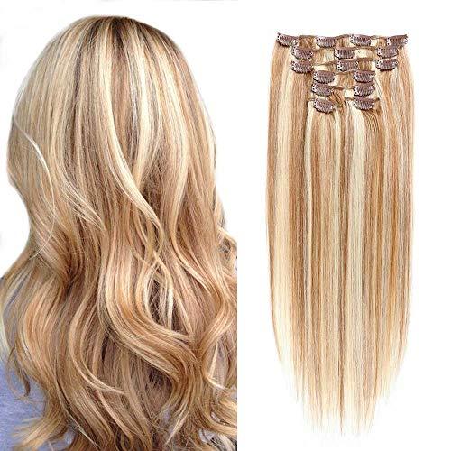 Charmartist - Extension di capelli umani con clip, stile morbido e setoso, per la bellezza, doppia trama, capelli umani Remy, capelli spessi, per donne nere, 35,5 - 50,8 cm