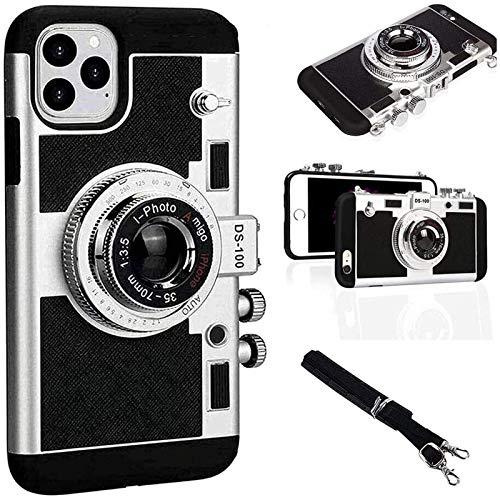 Compatible con iPhone 11 Pro MAX/X/XS/MAX Negro 11 Pro y otras nuevas fundas para teléfonos celulares con estilo de cámara parisina Emily, modernas fundas de silicona retro estilo 3D.