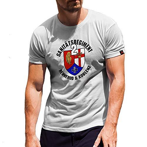 Sanitätsregiment 2 SanRgt Bundeswehr Rennerod Koblenz Sanitäter BW T-Shirt#30793, Größe:Herren 5XL, Farbe:Weiß