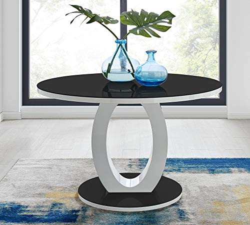 Furniturebox UK Giovani High Gloss And Glass Large Round Dining Table And 4/6 Modern Lorenzo Chairs Set (Dining Table Only, No Chairs)