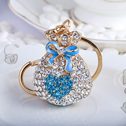 Damen Schlüsselanhänger, Exquisite Glück Geld Tasche Blau Strass Diamant Schlüsselbund Österreichische Diamantlegierung Schlüsselring Anhänger, Glänzendes Zubehör Paar Freund Liebhaber Mädc
