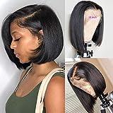 BLY Short Straight Bob Wigs Brazilian Virgin Human Hair Lace Front Wigs Human...
