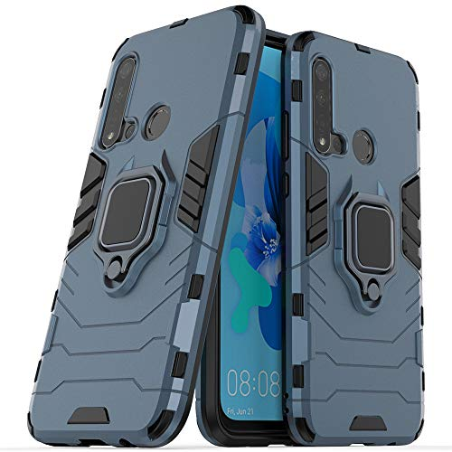 Funda Huawei P20 Lite,Sopatree Compatible para Huawei P20 Lite Carcasa Silicona PC Metálico Montaje Anillo Agarre Soporte Antichoque Caja Protector,Azul