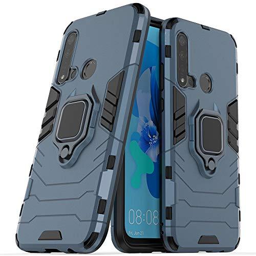 Funda Huawei P20 Lite,Sopatree Compatible para Carcasa Huawei P20 Lite Silicona PC Magnético Metálico Montaje Anillo Agarre Soporte Antichoque Caja Protector,Azul
