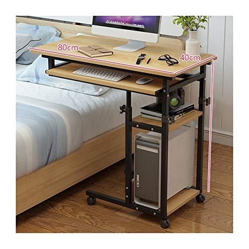 Beistelltisch mit Rollen Sofatisch Pflegetisch, Mobiler Betttisch Mit Rollen, Höhenverstellbarer Mobiler Steh-Sitz-Tisch (Color : Yellow pear Wood, Size : Lifting)