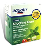 Equate - Nicotine Gum 4 mg, Coated, Cool Mint Flavor, 100 Pieces