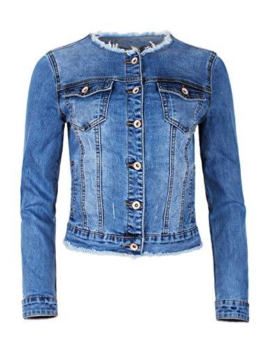 Fraternel Damen Jeansjacke ausgefranst Vintage Stretch Hellblau XXL / 44