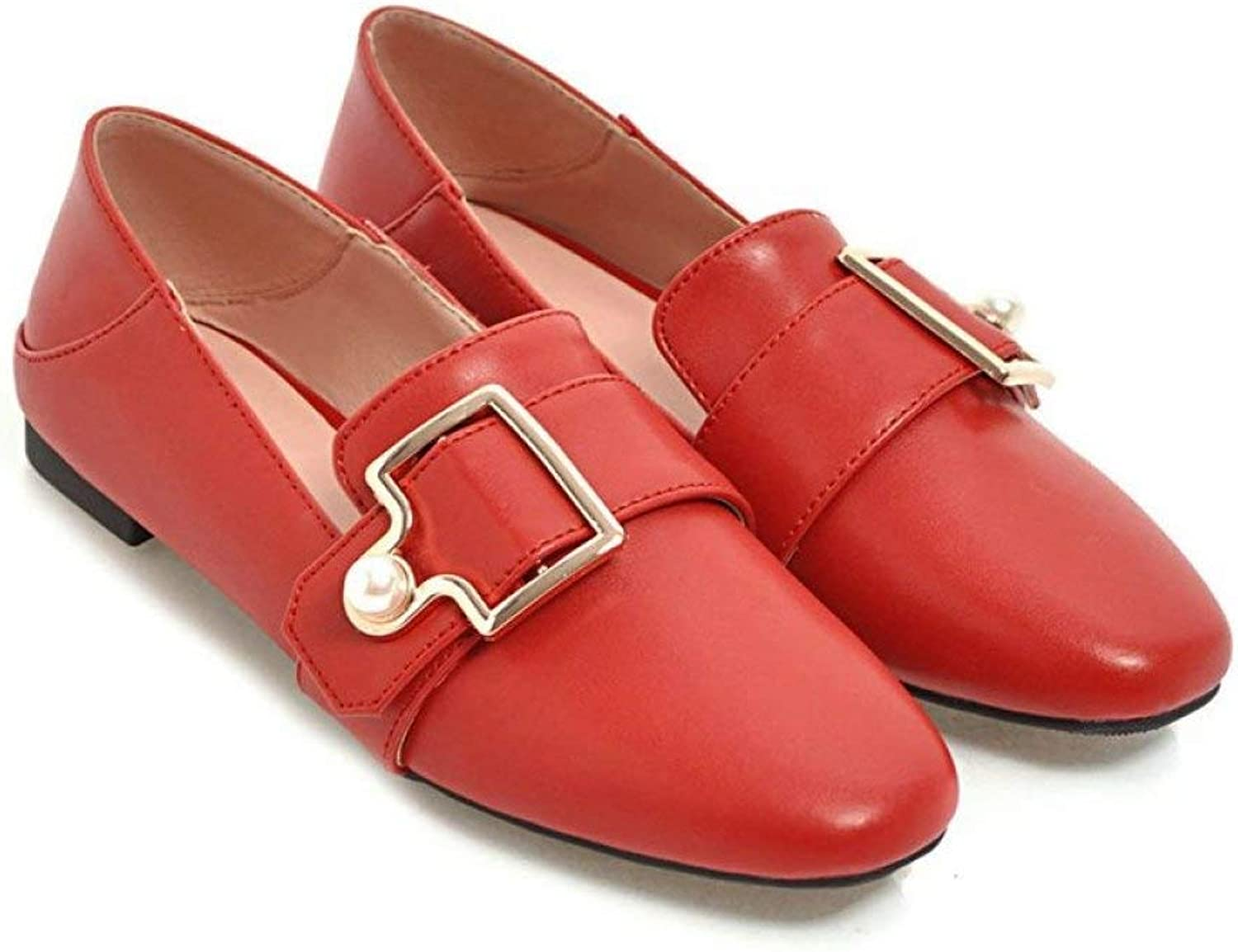 Fay Waters Women's Pearl Buckle Mule Flats Square Toe Slip On Leather Comfort Slipper Loafer shoes