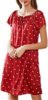Nightdress, Summer Thin ice Silk Princess Dress, Loose Short-Sleeved Short Skirt, Casual Home wear, Soft and Comfortable, high-Quality Fabric, (Color : Red, Size : L)