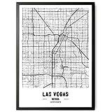 JUNOMI® Las Vegas Poster XL Schwarz Weiss, DIN A2