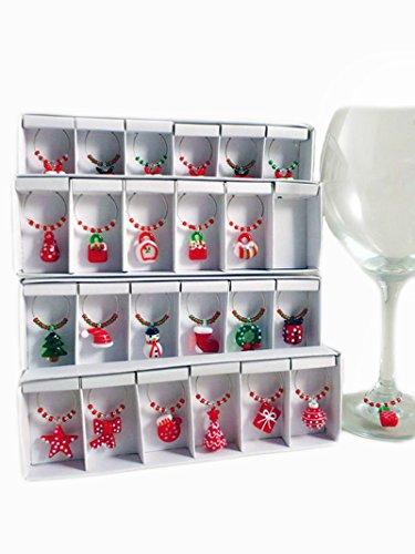 Segnaposto da bicchiere in vetro lavorato a mano design Natalizio - set da 6 pezzi