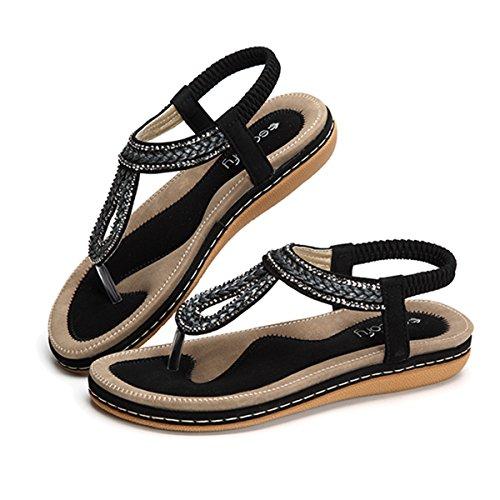gracosy Sandalias Planas Verano Mujer Estilo Bohemia Zapatos para Mujer de Dedo Sandalias Talla Grande 36-44 Cinta Elástica Casuales de Playa Chanclas Romanas de Mujer 2020 Rhinestone de Moda