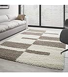 Carpettex Teppich Tapis de Salon Shaggy Designe Pile Longue Plusieurs Couleurs et dim. Disponible - Beige-Crème, 160x230 cm