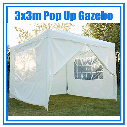 3x3m Pop Up Gazebo with 4 Sides, Heavy Duty Folding Garden Party Tent, Outdoor Canopy Marquee Tent, UV Block, Powder Coated Steel Frame, with Carrying Bag, Beige