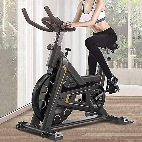 SKYWPOJU Bicicleta estática, Bicicleta estática para Uso en Interiores con Monitor LCD, Almohadilla de Asiento Ajustable, Manillar y Base para Entrenamiento en casa (Color : Gold)