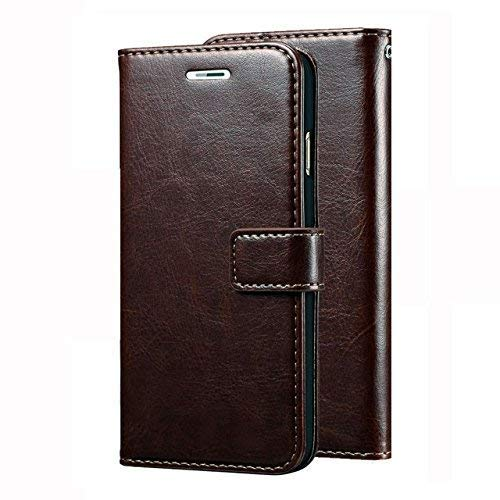 SESS XUSIVE Leather Wallet Flip Book Cover for Gionee P7 Max (Coffee Brown)