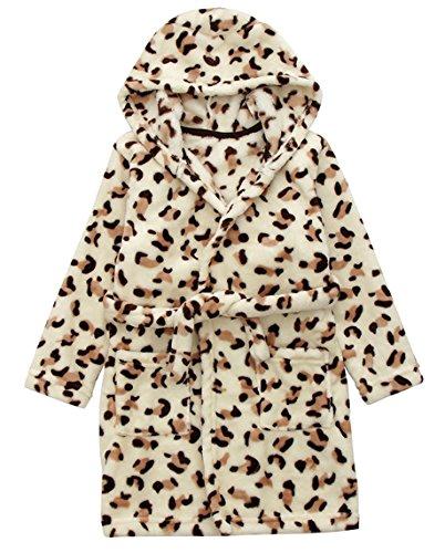 DELEY Unisex Bebé Niñas Niños con Capucha De Albornoz Suave Bata Invierno Pijamas Camisón Ropa De Dormir Leopard Tamaño 110