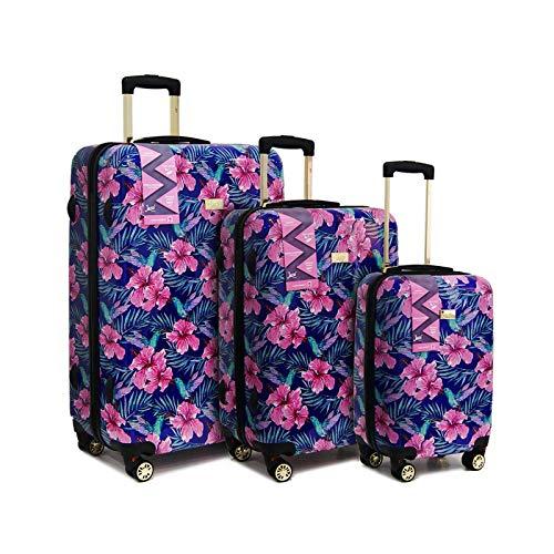 Ryan Air Easy Jet British Airways ABS rigida 4 ruote spinner bagaglio a mano set 3 pezzi valigia trolley, Hibiscus (Nero) - 1110