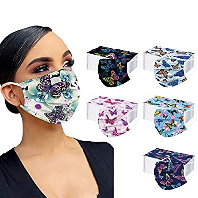 [US Stock] 50pcs 3 Ply Adults Disposable Face Mask Anti-Dust Personalized Print Breathable Face Covers Unisex MASZONE