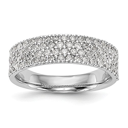 14k White Gold Micro Pave Diamond Wedding Ring Band Size 7.00 Engagement Bridal Fine Jewellery For Women Mothers Day Gifts For Her
